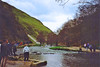 The stepping stones, Dovedale, Derbyshire, 24th March 1991 (Linda 2409) Tags: river hillside valley steppingstones people