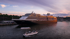 Cruise Ship (samiKoo) Tags: ship cruiseship harbour evening sunset stockholm city water reflections reflection boat vessel sky clouds colours urban landscape cityscape photography photo photograph panasonic lumix