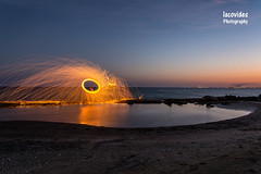 Steel wool. (Andreas Iacovides) Tags: steelwool landscape night larnaca cyprus canon eos 5d mark iii fire