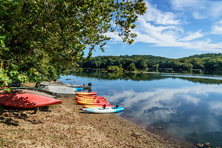 Kayaks and Boats Piled Up on a Beach on the Potomac at Riverbend Park