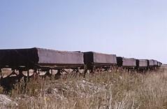 Derelict Gloucester R&CW ore wagons at Irchester (TrainsandTravel) Tags: england angleterre standardgauge voienormale normalspur industrialrailway ironstone chemindeferindustriel pierredefer industriebahn eisenstein northamptonshire irchester gloucesterrailwaycarriageworks orewagons