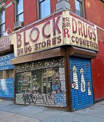 Block Drugs, New York, NY (Robby Virus) Tags: newyork newyorkcity ny nyc manhattan bigapple city block drugs drug store drugstore neon sign signage corner metal door art street pharmacy