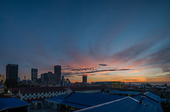 Johannesburg From M2 Highway (In Explore 12-10-17) (360°jetweb) Tags: bedfordview johannesburg sunset sunrise hiillbrow panoramic panorama orange blue tower south africa city skyline sky dusk tree 360°