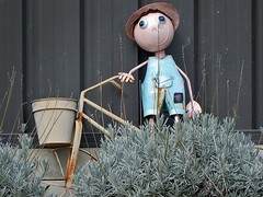 Tin Man in Lavender (mikecogh) Tags: highgate novelty man tin bicycle lavender overalls smiling cute rust