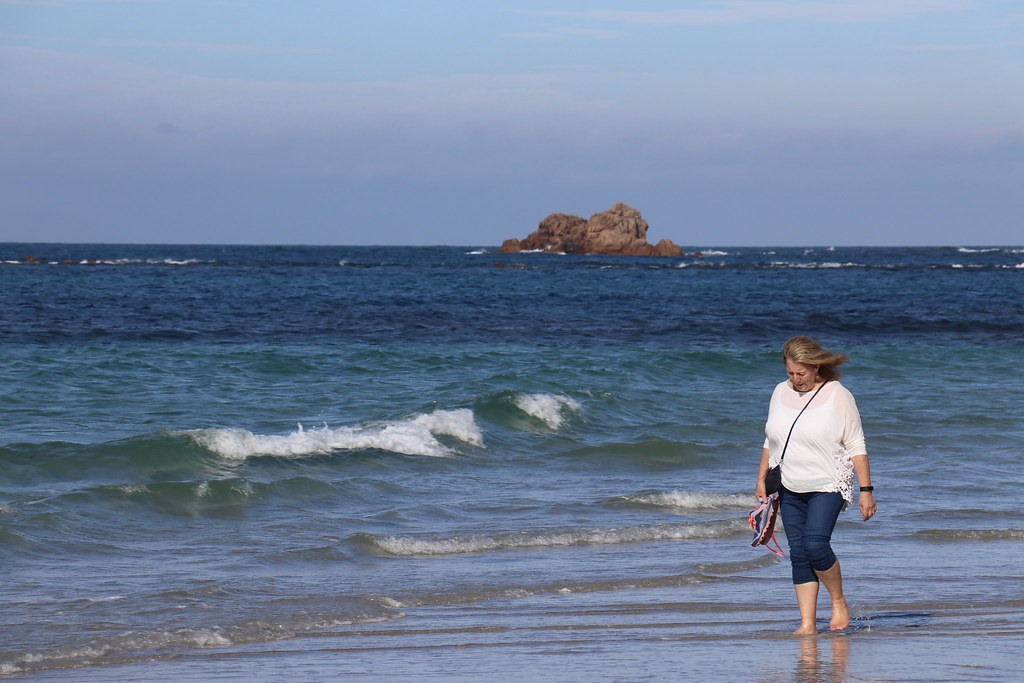 Linda on Cobo Beach, Guernsey