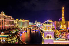 Vegas (under_exp0sed) Tags: vegas nighttime nightlights city citylights cityscape lasvegas bellagio cosmopolitan caesars paris bellagiofountains neon usa nevada view thestrip balcony