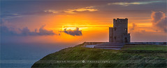 O'Brien's Tower - Cliffs Of Moher - Ireland (~ Floydian ~ ) Tags: henkmeijer photography floydian ireland irish cliffsofmoher o'brienstower observationtower coast coastal coastline sunset evening dusk twilight scenery landscape landscapes seascape seascapes leefilters stitching pano panorama panoramic canon canon5dmarkiv