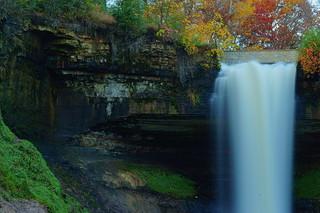 Minnehaha Falls and Autumn Trees