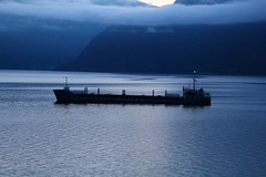 Ships that pass in the night. (Eddie Crutchley) Tags: cruise2017norwayicelandireland europe norway sognefjord outdoor fjord dawn clouds mountain ship simplysuperb greatphotographers