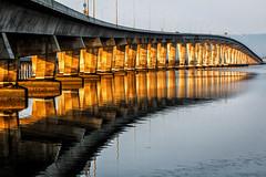 Dumbarton Bridge (Abel AP) Tags: bridge water reflection dumbartonbridge sanfranciscobay fremont california usa sanfranciscobayarea northerncalifornia columns abelalcantarphotography