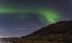 Dame Aurora's light-footed pirouette (lunaryuna) Tags: iceland northiceland akureyri fjord landscape mountains sky nightsky nocturnal starrynight northernlights auroraborealis nordlichter longexposure reflections water nightlights lunaryuna