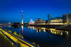 blue.sky.media.harbor (grizzleur) Tags: blue bluehour yellowblue night nightshot nightcitylights medienhafen mediaharbor mediaharbour city urban lights artificiallight beauty beautiful mood atmosphere fuji fujilove fujixt20 samyang12mmf2 langzeitbelichtung longexposure 50seconds reflections tvtower fernsehturm düsseldorf dusseldorf icon iconic duesseldorf