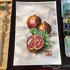Pomegranates (marusaart) Tags: stillleben malerei painting granatapfel granatäpfel pomegranate watercolour watercolor aquarell marusaart künstler kunst artist art