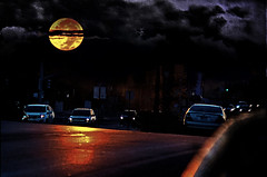 Shine On (Dawnsview) Tags: fullmoon harvestmoon twilight cityscape clouds moonrise nightsky nightlife nature manipulation cars scary moonscape moonlight strangerthings dawnsview photoediting