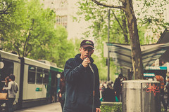 Swanston Street (JonShootsStreetPoorly) Tags: 50mm leicam people bokeh busker color colour contrast deep dreamy f24 finder golden hat hip hiphop hoodie hop humans iconic lacoste leica life live m9 melbourne melbs metro microphone pastel performer photography photos prime range rangefinder rapper shadow shot smooth snap spit street streetphotography streetscene streetshooter streetshot streetview streets summarit swanston thinking toning tourists tram travel trees urbanpeople urbanstreet urbanview warm