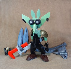 Sean Greasysprocket the Space Goblin (Rеdverse) Tags: goblin space mechanic scifi magic tech wrench earrings fantasy science clunky ears