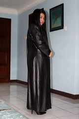Long Soft Leather Coat (johnerly03) Tags: erly philippines filipina asian fashion long soft shiny leather coat hair high heel boots