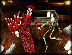 Dancing with the Dead (Tayren Theas) Tags: secondlife halloween dayofthedead lacalaveracatrina diadelosmuertos tff tayrensfantasyfashions