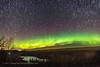 Aurora and Circumpolar Star Trails (Oct, 13, 2017) (Amazing Sky Photography) Tags: aurora northernlights alberta home curtains spires prairie north polaris bigdipper startrails circumpolar stackeractions nitrogenpink