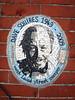 DSC04573LR (maurice.acton) Tags: elipse mosaic portrait memorial streetsweeper london wall brickwork plaque blue white black text inscription dedication memory