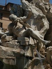 P6142986 Piazza Navona fountain (oberondilettante) Tags: rome piazzanavona fontaine fountain numasculin malenude sculpture statue nakedman