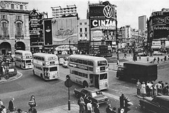 Piccadilly Circus London 1972. (Ledlon89) Tags: london bus buses transport lt lte lptb londonbus londonbuses aec vintagebus vintagebuses londontransport oldlondon piccadillycircus bombsite shaftesburyavenue nationalprovincialbank londonwestend theatreland alltypesoftransport