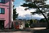 A glimpse of Mt Fuji pt 2 (Katie Tarpey) Tags: japan mtfuji fuji spring pink pinkthingsinjapan pinkbuilding vendingmachine tree modernlandscape film 35mm nikonfm10 nikkor50mm14 agfa agfavistaplus400