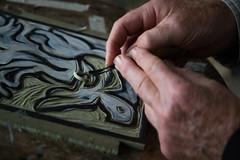 Wood cut (paul indigo) Tags: paulindigo art chisel colour creative graphic hands horizontal tool woodcut