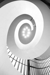 Spiral (Karen_Chappell) Tags: travel japan osaka hotel bw blackandwhite spiral architecture fisheye wideangle canonef815mmf4lfisheyeusm abstract stairs staircase curve shape lights lines oval interior