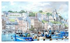Le Tréport - Normandie - France (guymoll) Tags: letréport normandie france croquis sketch bateaux ships boats port harbour église church