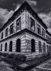 Old Dominican Building #6 (Haunted Version) (FotoGrazio) Tags: baguiocity catholic christian church dominicanbuilding philippines waynegrazio waynesgrazio abandon angle architecture art blackandwhite building clouds composition cross crucifix cruxifix dark decay exterior fineart fotograzio gritting haunted lines mansion oldbuilding portals religion spilttone splittoned windows