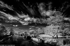 D7K_7846-Pano: Kennet & Avon canal, Newbury (Colin McIntosh) Tags: infrared newbury kolari 720nm cirrus clouds
