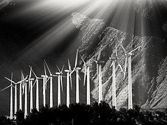 Power plant with hundreds of Wind Wheels in St. Bernardino county