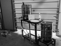 Turning Water to Beer. A True Miracle (Lake Effect) Tags: beer homebrew stand pots boil blackwhite monochrome bw utata:project=true2017 utata:entry=2
