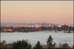 Vancouver 01065 BC web (DAMON WEST www.damonwestphotography.com) Tags: burnaby vancouver bc canada britishcolumbia fog sunrise city cityscape insidevancouver viawesome 604now fall autumn