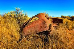 I think I can, I think I can.... (KPortin) Tags: abandonedautomobile rusty rustyandcrusty damaged sagebrush weeds hill hss