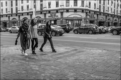 DR150904_1009D (dmitryzhkov) Tags: black blackandwhite bw monochrome white bnw blacknwhite art city europe russia moscow documentary photojournalism street urban candid life streetlife outdoor streetphotography streetphoto moment light shadow dmitryryzhkov people portrait streetportrait face man sony person stranger group three walk walker motion movement friend faces woman women young pretty