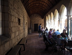 Cloistered Dining (pilechko) Tags: cloisters people nyc newyork color light arches dining medieval
