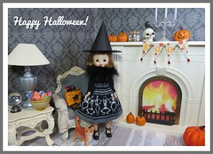 5. Happy Halloween! (Foxy Belle) Tags: halloween doll diorama 16 scale playscale living room gothic gray white cream holiday witch miniature dollhouse betsy mccall vintage 8 tiny handmade sew diy