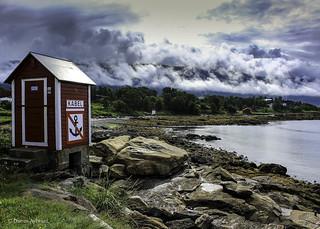 A small hut beside the Norwegian Sea, Tromso, Norway