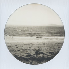 Albany Bulb Waves (H Polley) Tags: polaroidweek polaroid albanybulb albany california californiacoast eastbay roundframe impossible impossibleproject blackandwhite instantfilm