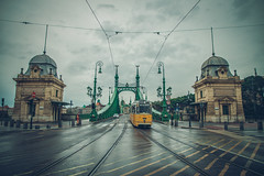 A rainy day in Liberty bridge (Vagelis Pikoulas) Tags: rain rainy raining day tram liberty bridge reflection reflections budapest road street september clouds cloudy cloud canon 6d tokina hungary landscape city cityscape capital autumn 2017 full frame sharpness