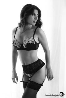 Sensual wonderful young girl in black lingerie