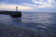 Dusk, pier and quiet (navarrodave80) Tags: pier dusk water sea baltic balticsea molo blue clouds ustka poland polska stone headofpier