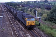 56051 on mgr duties seen at Tupton in September 1982. I Cuthbertson collection (I C railway photo's) Tags: class56 grid 56051 tupton mgr bangerblue