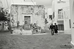Street of Naxos (oiZox) Tags: naxos church streetphotagraphy people greece cyclaidi blackandwhite