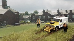 As Far As We Can Go. (ManOfYorkshire) Tags: landrover defender model scale roadrail oxforddiecast diecast 176 oogauge diorama rusty rails track convertible weathered networkrail