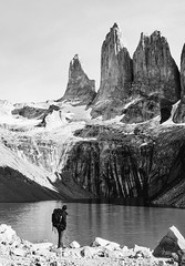 A man of the mountains. (Monica@Boston) Tags: ngc snow lake chile patagonia outdoors man mountains monochrome blackandwhite sky rock water
