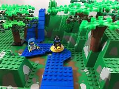 2017-267 - World Rivers Day (Steve Schar) Tags: 2017 wisconsin sunprairie iphone iphone6s project365 lego minifigure legotravelbuddy batman river waterfall waterfalls worldriversday tree trees canyon