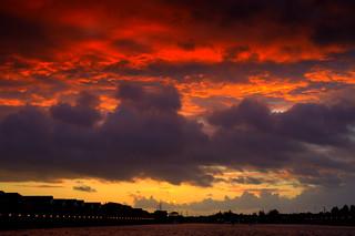 Fire in the sky over Preston Docks